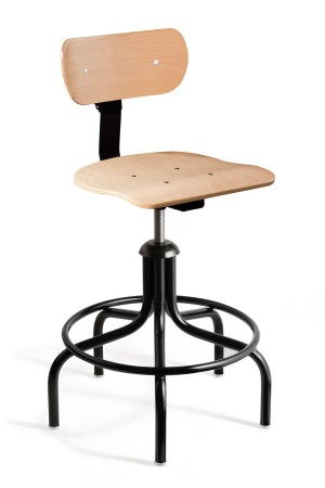 Maple Plywood Mid Height Swivel II Chair; Black Tubular Steel Base w/Welded Footring-5 legs