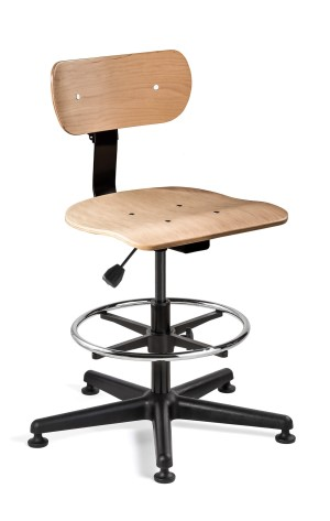 Maple Plywood Tall Height Non-Tilt Chair; Black Nylon Base w/Adjustable Footring