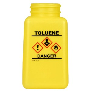 BOTTLE ONLY\, YELLOW\, HCS LABEL\, TOLUENE PRINTED\, 6 OZ