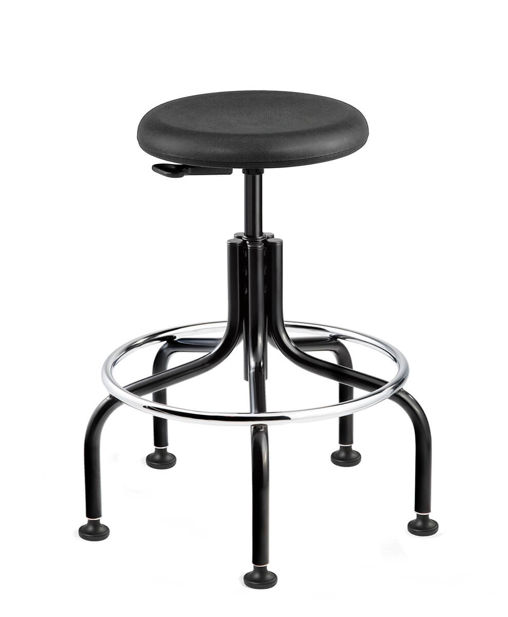 Versa Tall Height Polyurethane Backless Stool; Black Tubular Steel Base w/Welded Footring