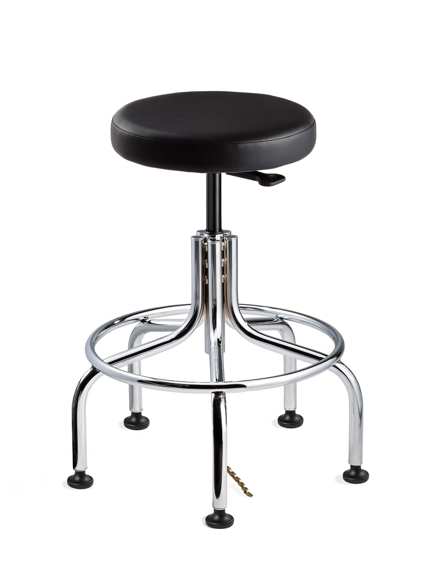Versa Tall Height ESD Black Vinyl Backless Stool; Chrome Tubular Steel Base w/Welded Footring