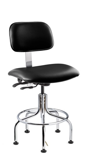 Westmound Tall Height ESD/ISO 6 Cleanroom Black Vinyl Chair; Articulating Seat & Back Tilt; Chrome Tubular Steel Base w/Welded Footring