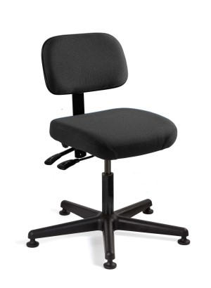 Doral Desk Height Black Fabric Chair; Articulating Seat & Back Tilt; Black Nylon Base