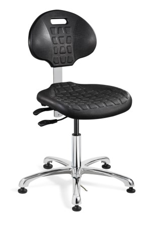 Everlast Desk Height ESD/ISO 4 Cleanroom Black Polyurethane Chair; Articulating Seat & Back Tilt; Polished Aluminum Base