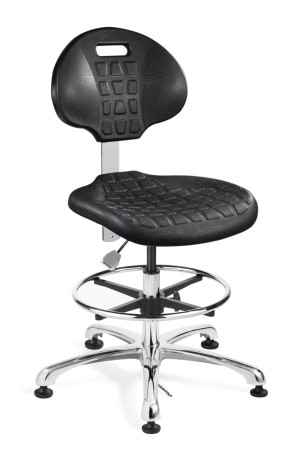Everlast Tall Height ESD/ISO 4 Cleanroom Black Polyurethane Chair; Non-Tilt; Polished Aluminum Base w/Adjustable Footring