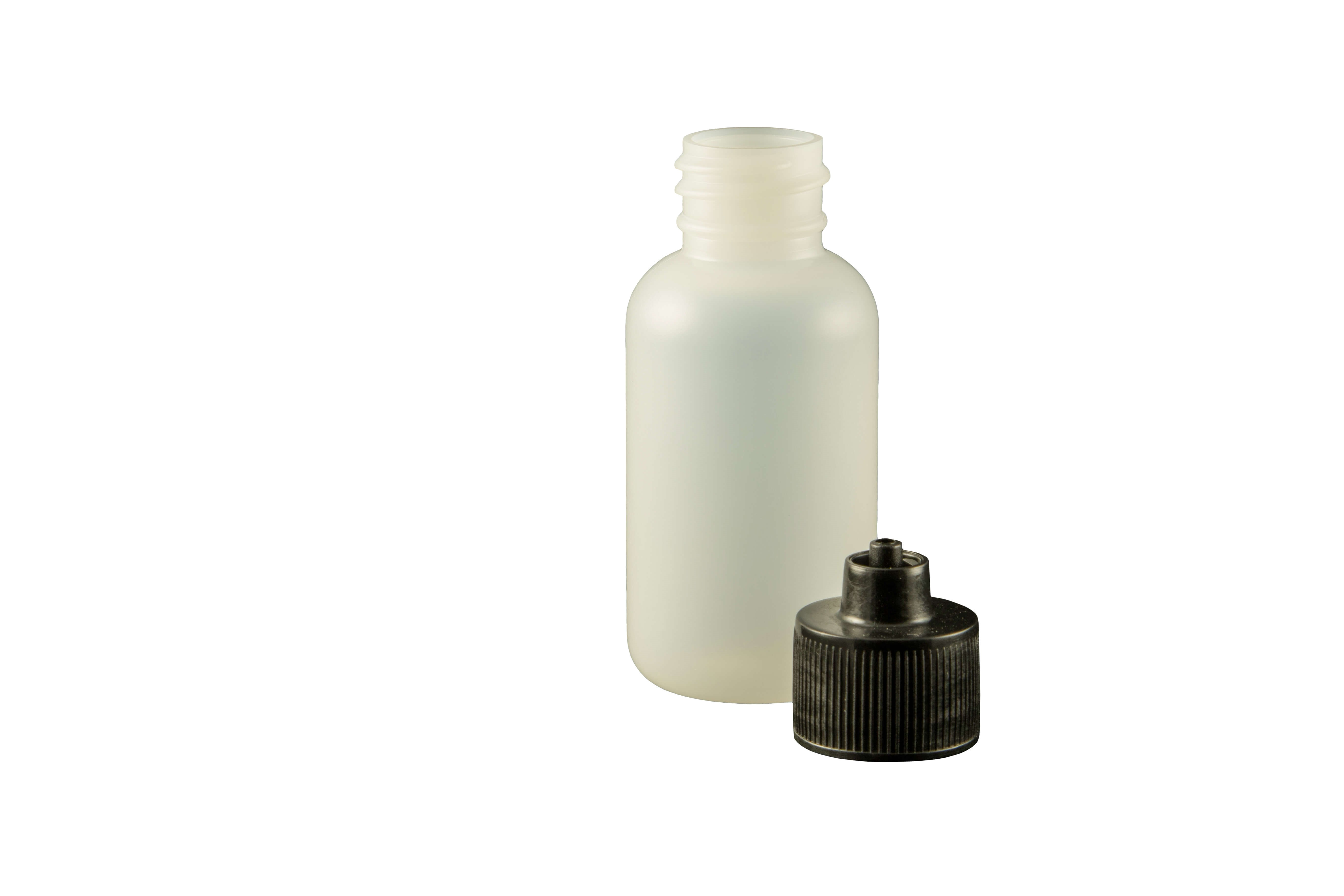 1 oz. Bottle LDPE Boston Round w/ Black Luer Lock Cap Bag/10